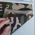 Tecido de sarja poliéster de poliéster com padrão de camuflagem 80/20 para uniforme militar